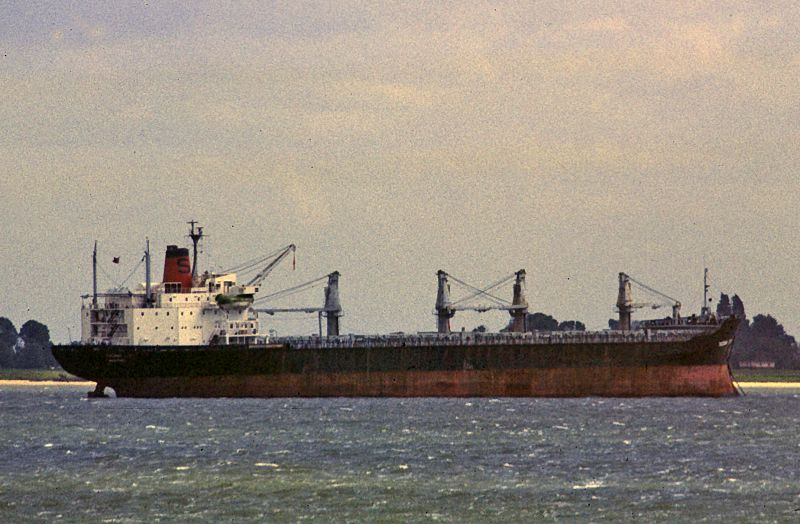 TACOMA CITY laid up in the River Blackwater Date: 22 June 1985.